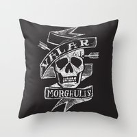 valar morghulis Throw Pillows featuring all men must die by Matthew Taylor Wilson