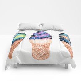 """""""Cosmic Cones"""" watercolor galaxy illustration Comforters"""
