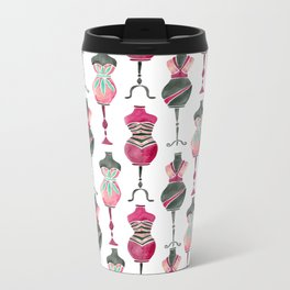 Vintage Dress Forms – Pink & Black Palette Metal Travel Mug