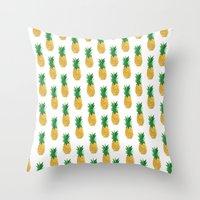 pineapples Throw Pillows featuring Pineapples by millymay2