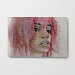 Girl with pink hair. Watercolor art Metal Print