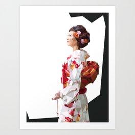 Polygonal Kimono girl 2 Art Print
