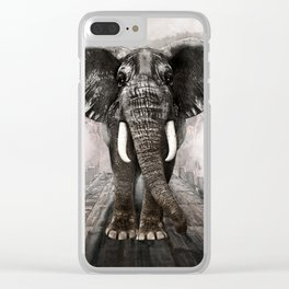 Elefant on walk Clear iPhone Case