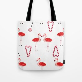 Red Flamingos With Candy. Happy New Year and Merry Christmas Tote Bag