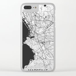 Marseille Map Gray Clear iPhone Case