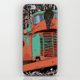 Old speed wagon with a wolf skull and a hawk. iPhone Skin