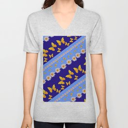 BLUE ART YELLOW BUTTERFLIES & WHITE DAISIES  DIAGONAL STRIPES Unisex V-Neck