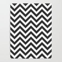 Charcoal Gray Chevrons Pattern Poster