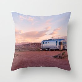 SILVER CARAVAN AND PINK DESERT SUNSET Throw Pillow