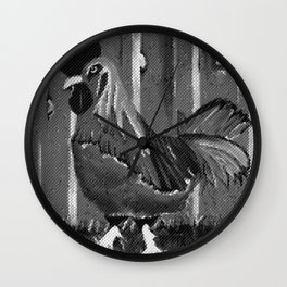 Black And White Rooster Wall Clock
