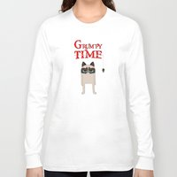grumpy Long Sleeve T-shirts featuring Grumpy time (grumpy cat) by BomDesignz