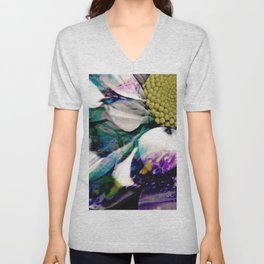 Fluid Nature - Marbled Daisy - Acrylic Pour & Photography Unisex V-Neck