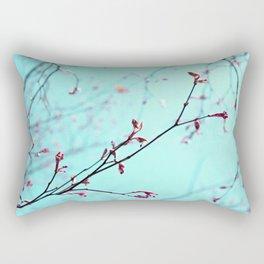Pink Spring Flowers on Aqua Blue Green Sky Rectangular Pillow