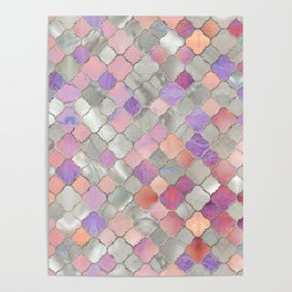 Quatrefoil Moroccan Pattern Mother of Pearl and quartz Poster