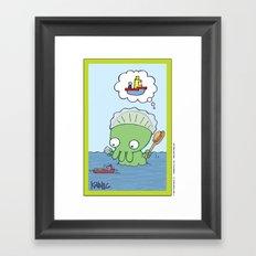 Bathtime for Baby Thulhu! Framed Art Print