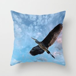 Great Blue Heron Soaring Throw Pillow