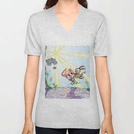 Laughing Along the Path - One Boy and a Toy Unisex V-Neck