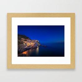 As the night falls over Manarola Framed Art Print