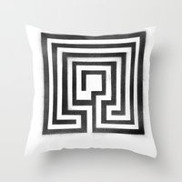 labyrinth Throw Pillows featuring Labyrinth by Maria Quilez