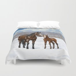 Bay Mare and Cute Foal in Winter Duvet Cover