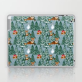 Corgis in the winter forest Laptop & iPad Skin