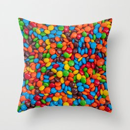 Colorful Candy-Coated Chocolate Pattern Throw Pillow