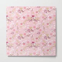 Vintage chic rose pink white red boho floral pattern Metal Print