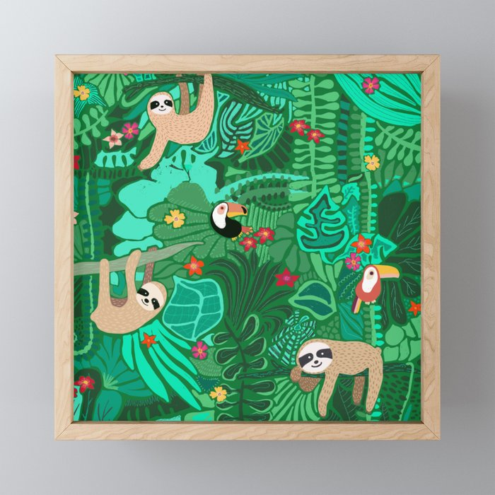Sloths in the Emerald Jungle Pattern Framed Mini Art Print
