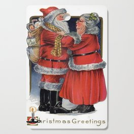 Vintage Christmas Greetings from Mr and Mrs Claus Cutting Board