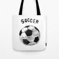 soccer Tote Bags featuring Soccer by Matthias Leutwyler