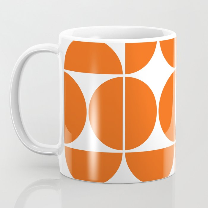 Mid Century Modern Geometric 04 Orange Kaffeebecher
