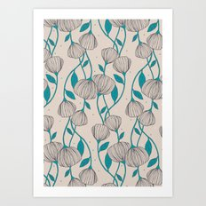 Blue Stem Flowers Art Print