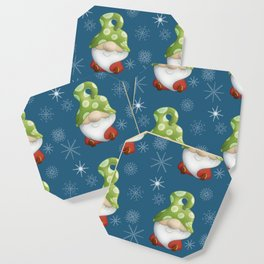 Blue Winter Gnome Pattern Coaster