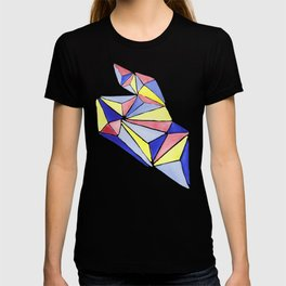 Watercolor colorful beach triangles. Watercolor geometry 3D effect. T-shirt