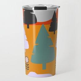 Bear walking between flowers and pine trees Travel Mug