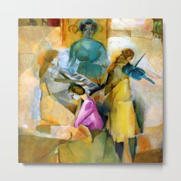 Blue Violin and the Musical Sonata portrait painting by Marcel Duchamp Metal Print