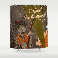 propaganda Shower Curtains featuring Propaganda Series 8 - Defeat the humans! by Alex.Raveland...robot.design.digital.art