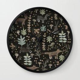 Woodland Nature at Night Wall Clock