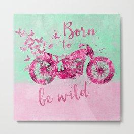 Artsy colorful flower power motorcycle Metal Print
