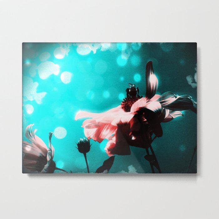 Aqua N Pink Retro Sunflower N Bee Metal Print