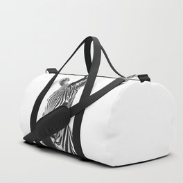 Black and white zebra illustration Duffle Bag