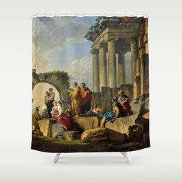 Giovanni Paolo Pannini's Masterpiece: The Apostle Paul Preaching on the Ruins. Shower Curtain