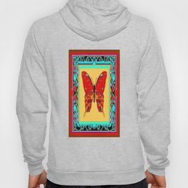 Southwestern Style Design With Red-gold Swallow Tail Butterfly Hoody