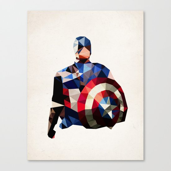 Polygon Heroes - Captain America Canvas Print