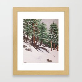 Snowing at Mount Baldy Framed Art Print