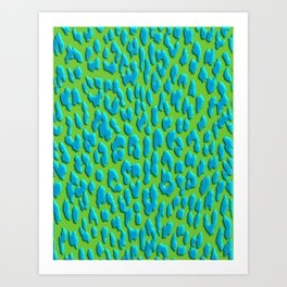 Bright Green & Blue Leopard Print Art Print