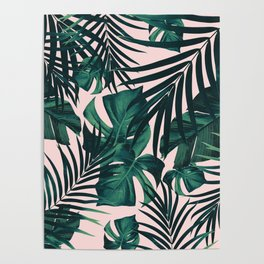 Tropical Jungle Leaves Pattern #5 #tropical #decor #art #society6 Poster