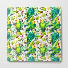 Flowery jungle of birds and fruit Metal Print