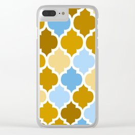 MOROCCAN BROWN AND BLUE DESIGN Clear iPhone Case