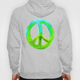 Watercolor Tie Dye Peace Sign Turquoise Lime on White Hoody